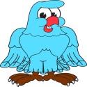 blue hawk smiling