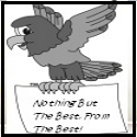 """Hawk carying a paper that says """"Nothing but the best from the best!"""""""