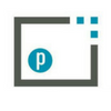 Parchment logo gray rectangle blue p