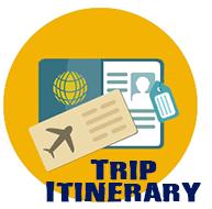 Trip Itinerary - passport and plane ticket