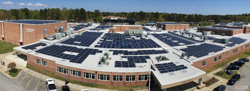 solar panels on top of western branch high school