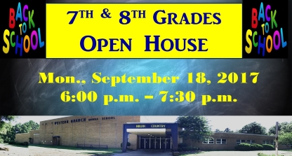 7th & 8th Grade Open House on Monday, September 18th from 6:00 p. m. to 7:30 p.m.