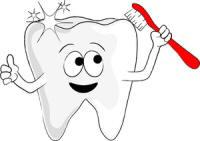 cartoon tooth holding toothbrush