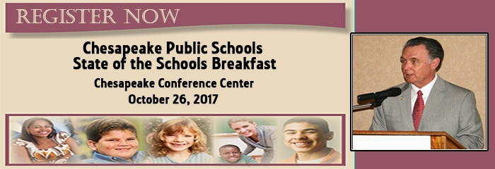 Register Now - Chesapeake State of the Schools Breakfast - Chesapeake Conference Center - october 26, 2017 - Jim Roberts at podium, collage of kids