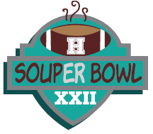 """H"" on football image. Souper Bowl XXII"