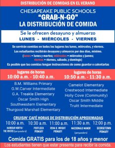 summer food service program cps grab-n-go meal distribution poster in spanish