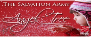 salvation army angel tree child blowing snow
