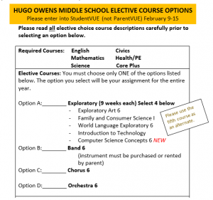 a flier with directions on how students will choose their elective for 6th grade. heading is:hugo owens middle school elective course options please enter into studentvue (not parentvue) february 9 to 15