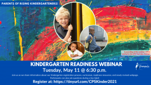Kindergarten Readiness Webinar flier. Tuesday, May 11th at 6:30 PM. Picture of 3 students in different locations. Colorful painted background.