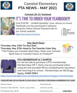Camelot Elementary PTA News May 2021 flier