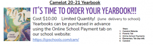 camelot 20-21 yearbook. it's time to order your yearbook! Cost is $10. order on camelot's website