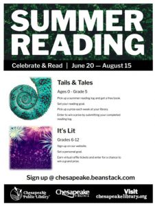 summer reading flier from chesapeake public libraries