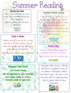 summer reading flier with ideas from barnes and noble, chuck e cheese, and more