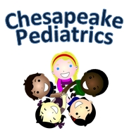 Chesapeake Pediatrics. Five mult-racial students standing in a circle, looking up
