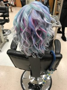 Colored hair to demonstrate cosmetology student's work