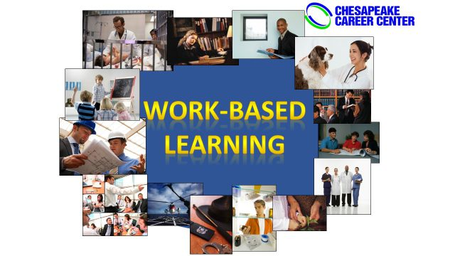 Work-Based Learning collage with photos of work-based learning