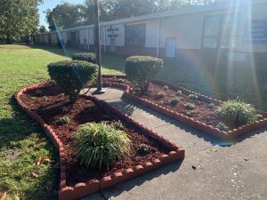 Flowerbeds in front of CCSS