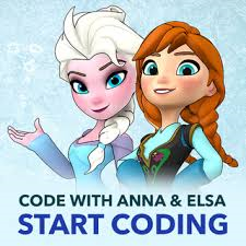Picture of Anna and Elsa from frozen with the words code with anna & elsa start coding