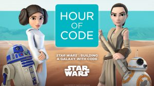 Animated starwars picture with the words hour of code star wars building a galaxy with code