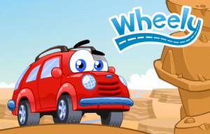 Wheely logo with red car smiling with desert rocks in the background