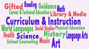 worldle collage of all the subject areas: reading, guidance, math, social studies, art, science, guidance and school counseling
