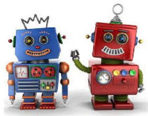 blue and red robot. red robot is waving right arm.