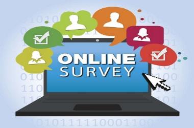 Online Survey laptop with thought bubbles