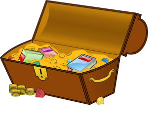 Treasure chest with coins, books, and gems