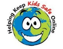 Earth with smiley face and the text helping keep kids safe online