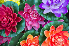 Image of red, pink, and purple fake flowers