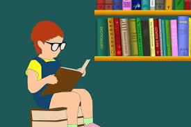 Child reading a book sitting next to books on a shelf