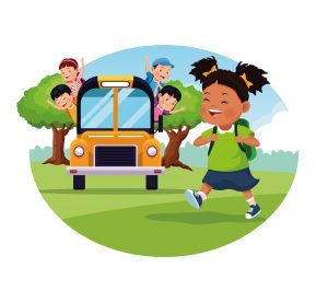 Child walking to school and children riding a bus to school