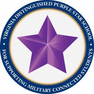 Purple Star Symbol with Text Virginia Distinguished Purple Star School for Supporting Military Students