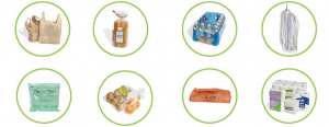 recyclable items: grocery bags, bread bags, case overwrap, dry cleaning bags, newspaper sleeves, ice bags, wood pellet bags, ziplock & other re-sealable bags, produce bags, bubble wrap, salt bags, and cereal bags