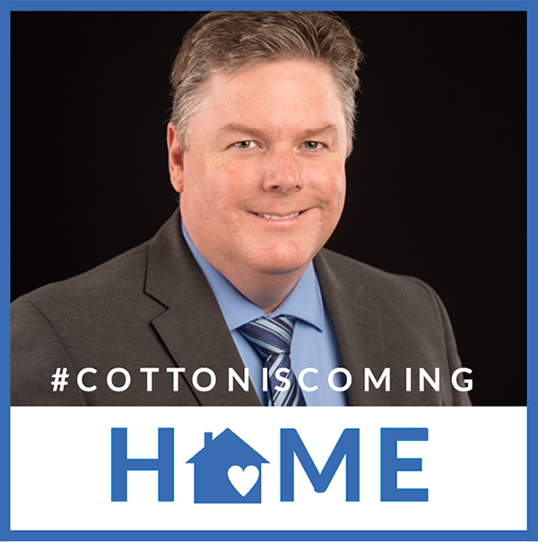 Portrait of Superintendent Dr. Jared Cotton smiling - caption: #cottoniscoming home