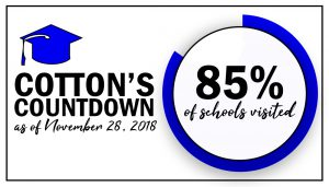 Dr. Cotton's Countdown - As of November 28, 2018 - 85% of Schools visited