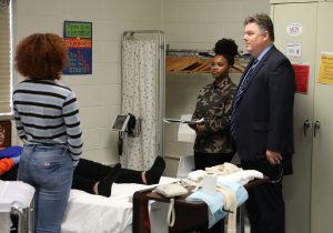 Dr. Cotton visits nursing students at the Career Center.