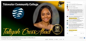 Screen Shot of YouTube Live Broadcast of GBHS 2020 Graduation Ceremony with Chat box