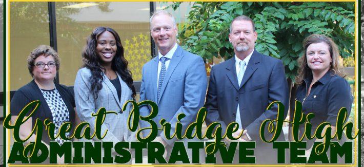 Photograph of administrative staff at Great Bridge High School - 1 Principal and 4 Assistant Principals