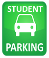 "text reads ""student parking"" around image of car on a green field"