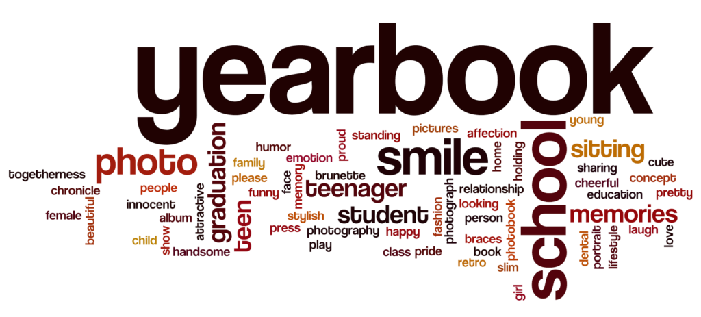 this image is a word cloud - the dominant word is YEARBOOK. Other visible words include PHOTO, GRADUATION, SCHOOL, SMILE, MEMORIES, TEENAGER