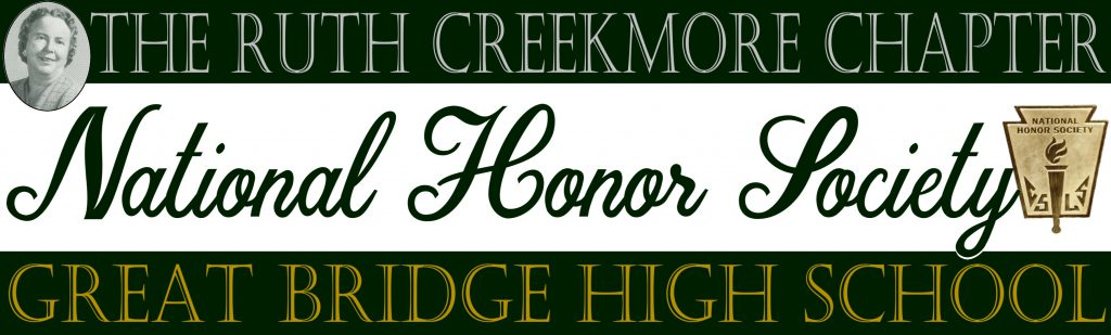 The Ruth Creekmore Chapter of the National Honor Society of Great Bridge High School web banner