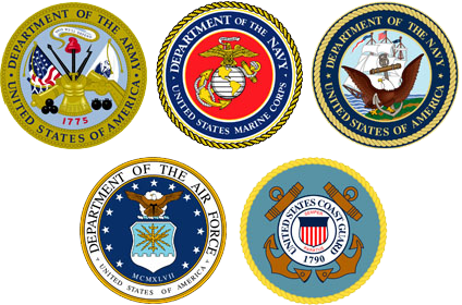 US Armed Forces logos - US ARMY, US MARINE CORPS, US NAVY, US AIR FORCE, US COAST GUARD