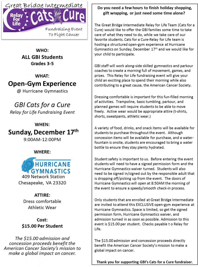 Cats for a Cure-OPEN GYM Experience @ Hurricane Gymnastics @ Hurricane Gymnastics | Chesapeake | Virginia | United States