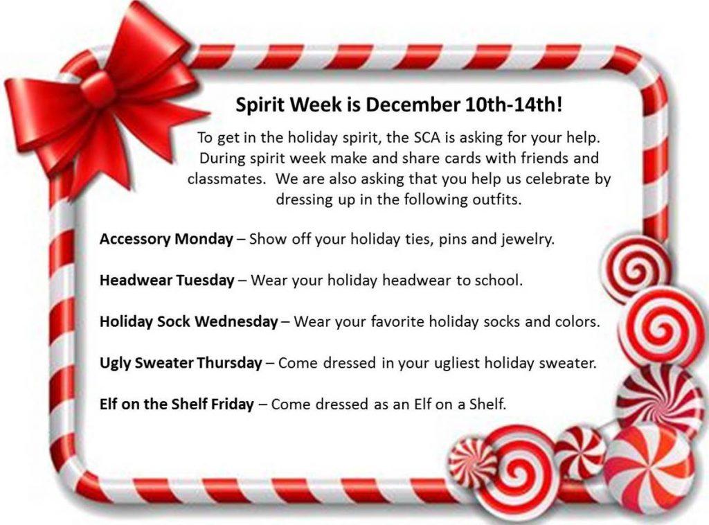Spirit Week-December 10th-14th