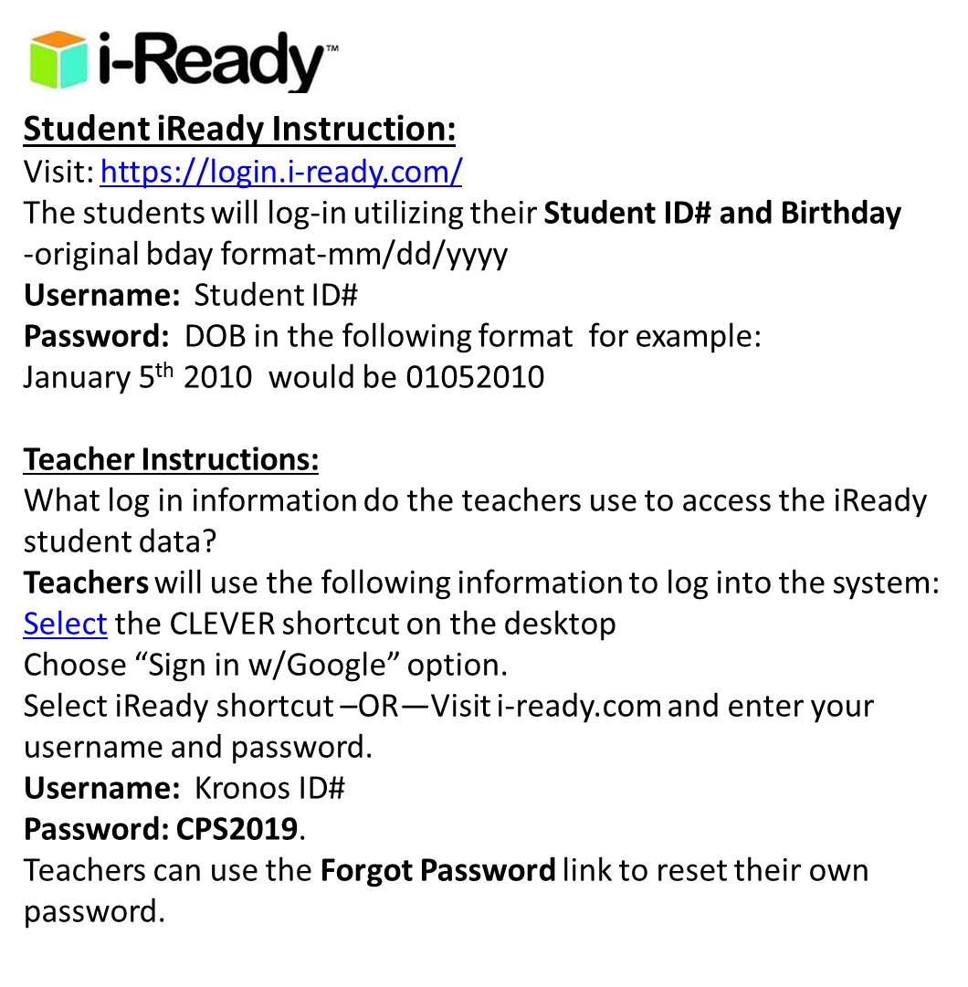 iReady Math Instruction is available to ALL GBI students!