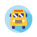 School bus with blue circle