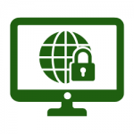 green monitor with globe and lock