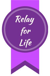 """Purple Ribbon with """"Relay for Life"""" written on it."""