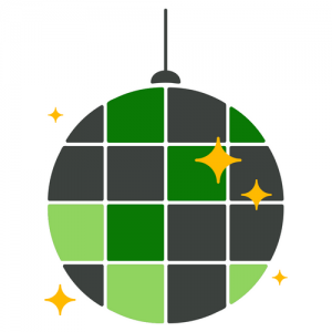 Green and gray disco ball with gold lights surrounding it.